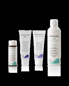 Acne TripleLock Core Solution aknicare gentle cleansing gel, synchrovit face cream, nutritime plus, aknicare lotion